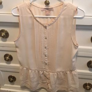 Love 21 cream tank blouse with crochet lace